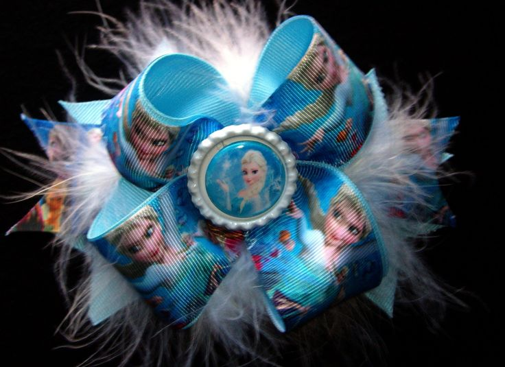 Frozen Elsa  Disney Pretty Blue hair bow with boa Feathers by Hamptonfoxx on Etsy