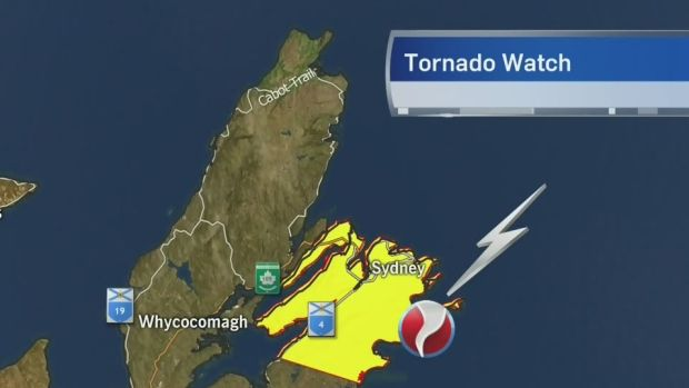 A tornado watch has been issued for Sydney Metro and Cape Breton County. CTV's Kelly Linehan has the latest.