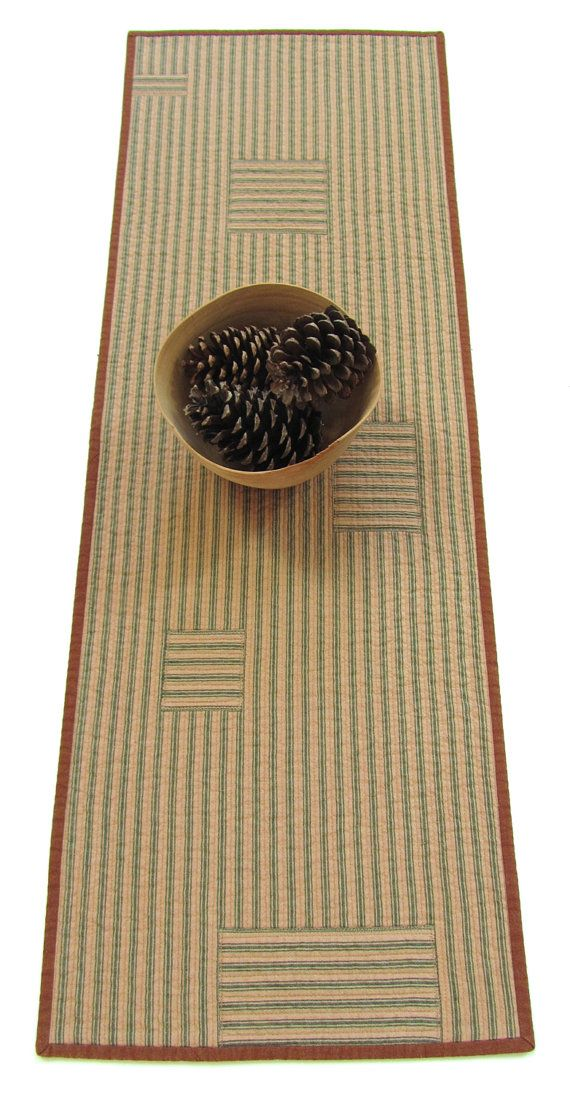 Quilted Table Runner  Striped Ticking  / by VictoriaGertenbach, $55.00