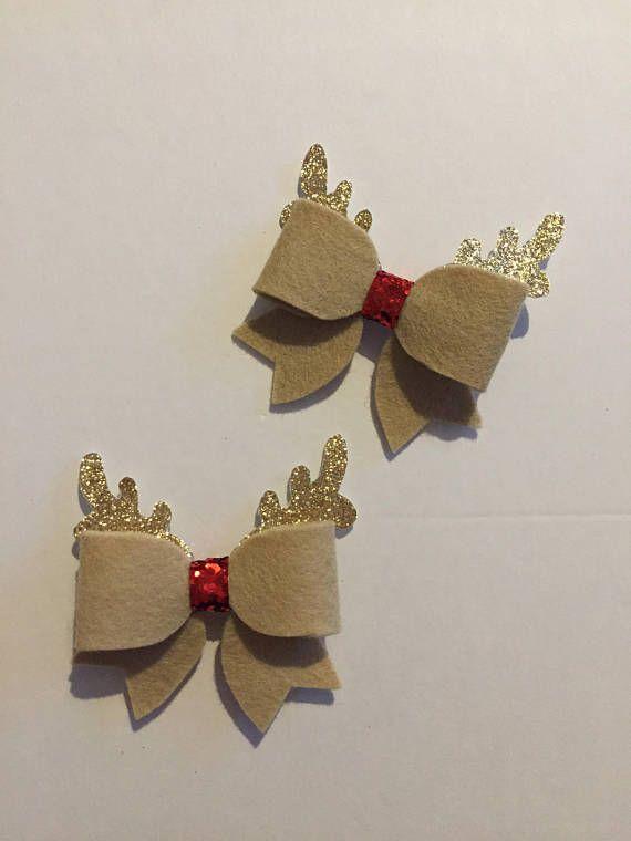 Handmade Reindeer Hair Bow Rudolph Hair Bow Christmas Handmade Hair Bows Hair Bows Christmas Crafts