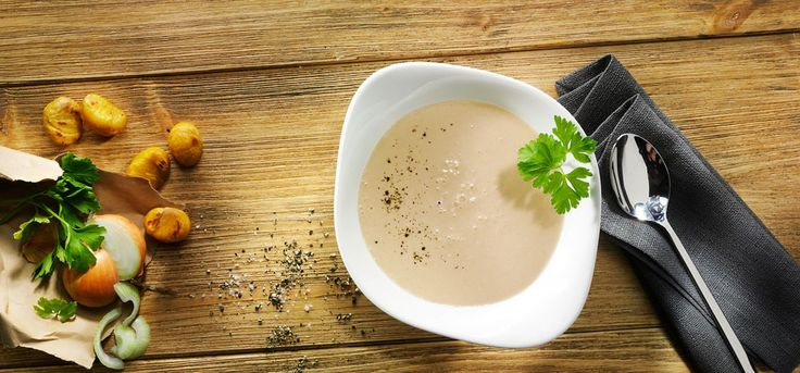 Chestnut Soup • Creamy soup with chestnuts, cream, onions and a splash of white wine vinegar.