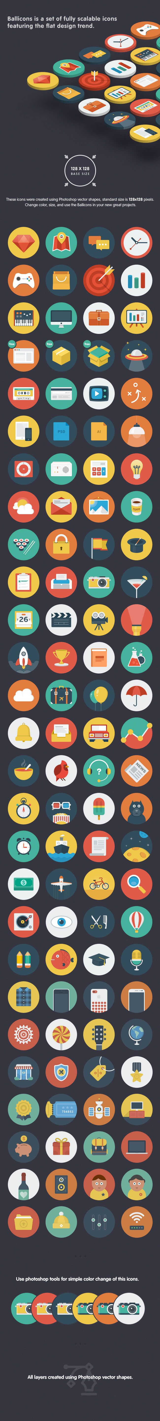 Ballicons: 110 Unique Flat Vector Icons - only $11! - MightyDeals