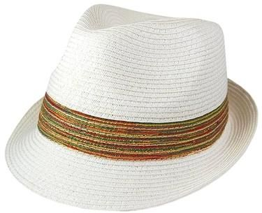 Wholesale Hats - Wholesale Straw Fedora Hats w/Multicolor Band