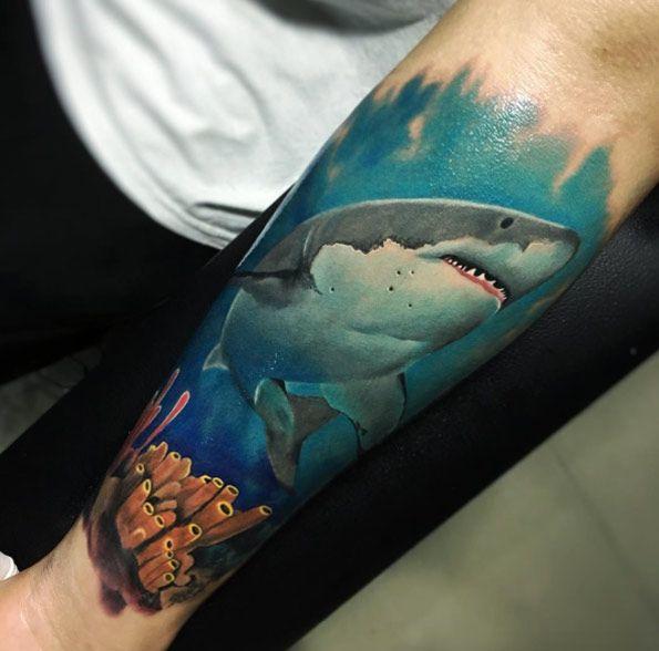 Shark in the sea tattoo by Santiago Buritica