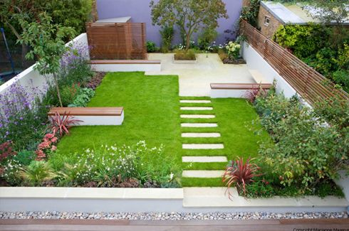 London Garden Designer benches to break up lawn