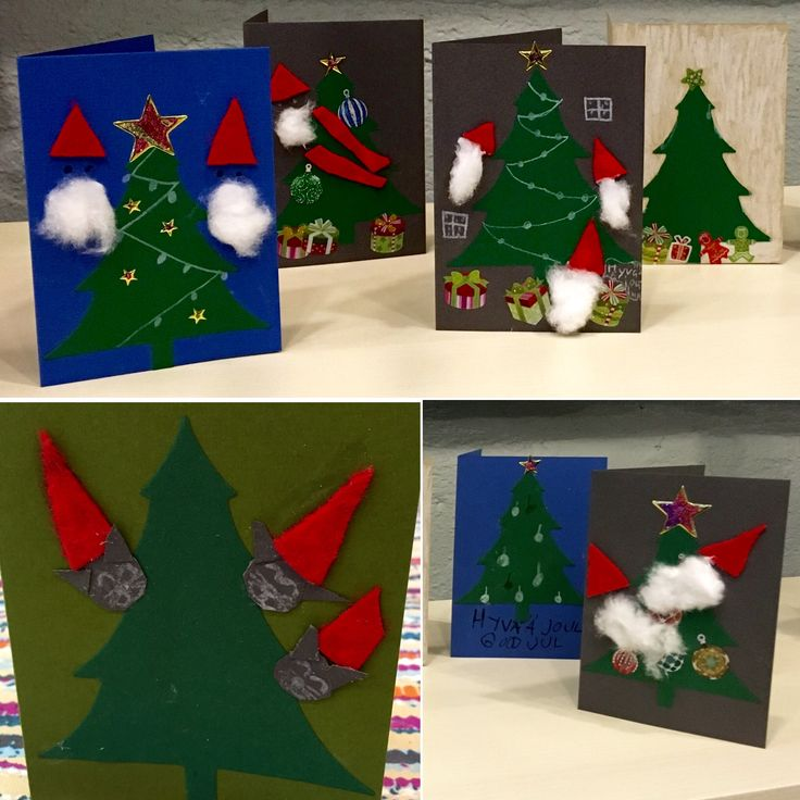Joulukorttipajoissa koululaiset tekivät yli 200 joulukorttia.