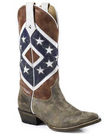 Roper Women's Rebel Flag Distressed Snip Toe Boots