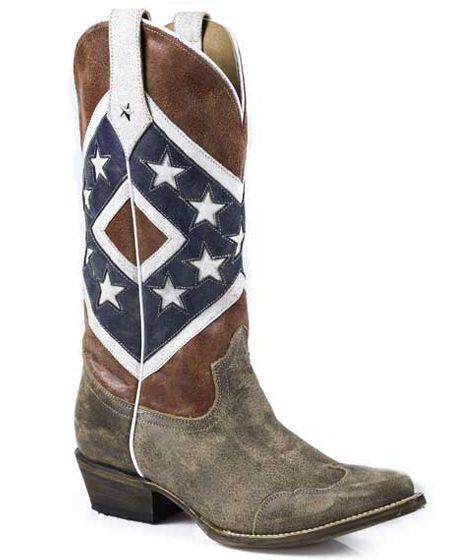 Roper Women's Rebel Flag Distressed Snip Toe Boots