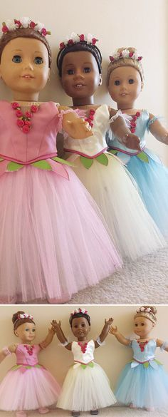 """Kari D's dancer daughter asked her for a full Nutcracker flower corps for her American Girl dolls — and talented Kari obliged! She made these just-like-the-real-thing dance costume bodices and Romantic tutus using the Lee & Pearl BALLET PERFORMANCE Pattern Bundle for 18"""" dolls. Get your own copy of this pattern bundle at https://www.etsy.com/listing/271748202/ballet-performance-bundle-for-18-dolls"""