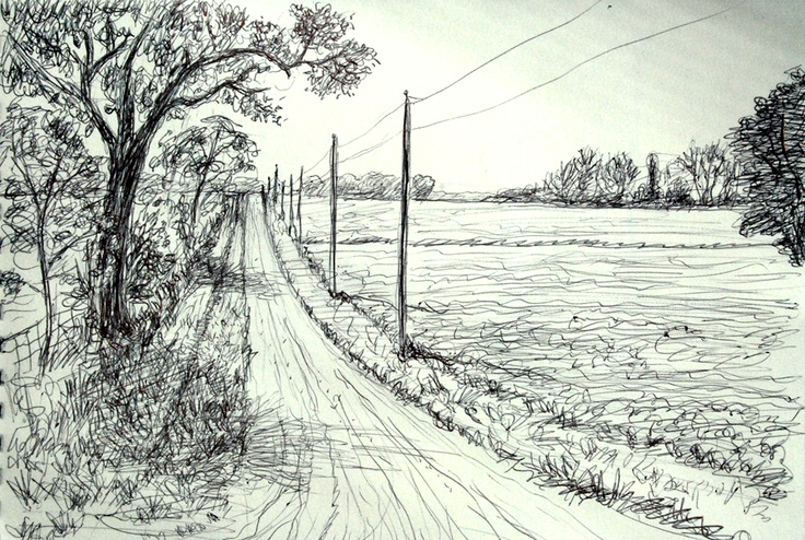 Farm road, 6 x 8 inch ball point pen sketch. by Karl Gude