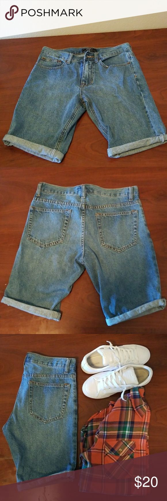 Forever 21 Mens Shorts Mens denim shorts Size 29 Cuff on the bottom, snug fit. Never worn after buying from store. Forever 21 Shorts Jean Shorts