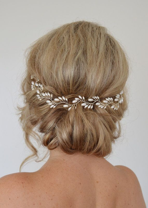 Art Deco Bridal Hair Vine, Pearl Bridal Wreath,Rice Pearl Wedding Halo, Wedding…