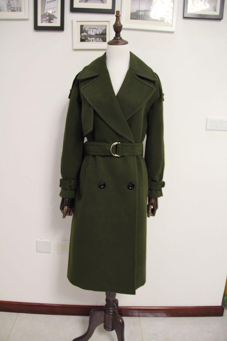 Холодный зеленый Новинка 2017 года Дизайн зимнее пальто женщин Шерстяное пальто Тренчи для женщин oversize теплые Для женщин пальто европейский женские Модные одежда Z317 купить на AliExpress