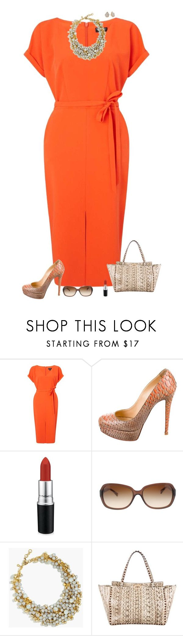 """Orange delight"" by julietajj ❤ liked on Polyvore featuring Miss Selfridge, Christian Louboutin, MAC Cosmetics, Coach, J.Crew, Valentino and Kendra Scott"