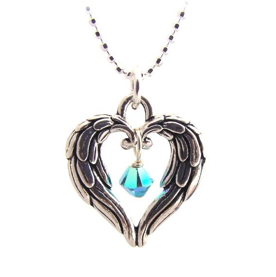 Angel wings heart necklace, the stone just needs to be pink.