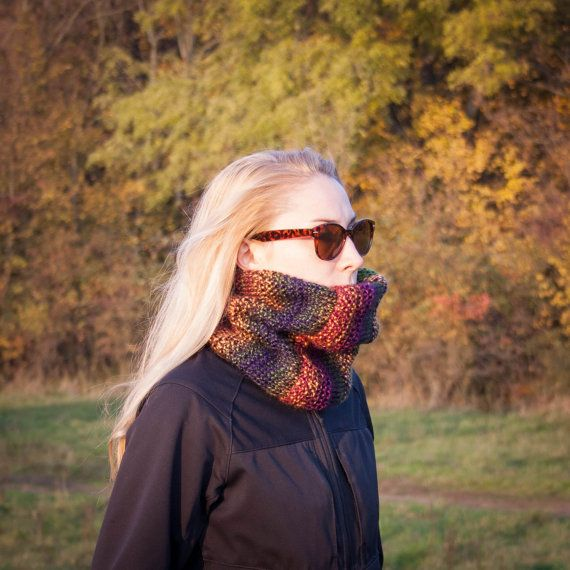 Multicolored Flecked Knit Neckwarmer / Fall Winter by RUKAMIshop