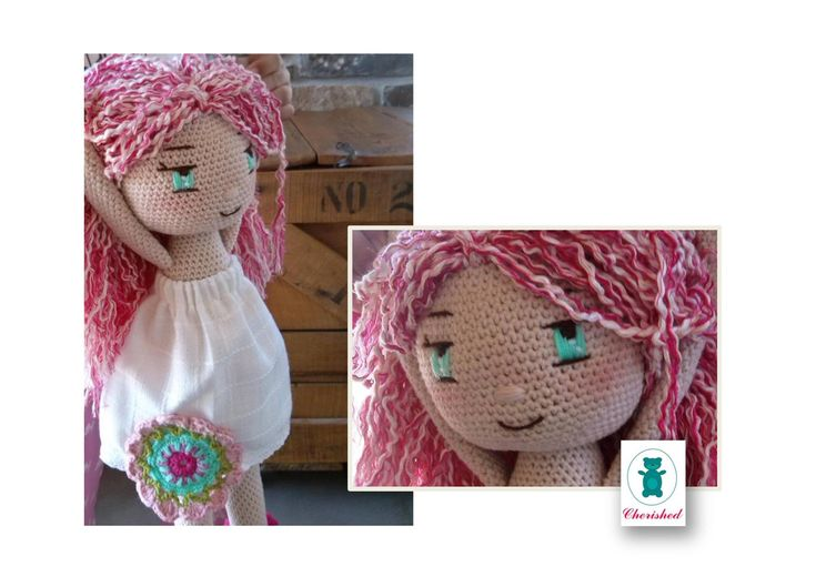 crochet doll 40cm with white fabric dress and emboidered face