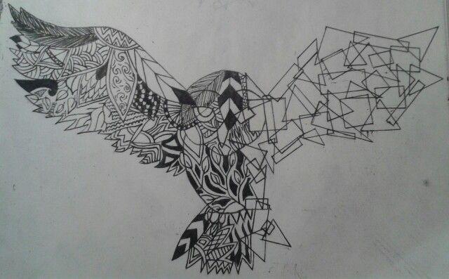Organisch vs geometrisch. Pen en inkt. -I.W.