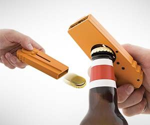 Bottle Cap Opener and Gun: can shoot bottle caps over 16ft with the push of a button!  A Pest's must-have.