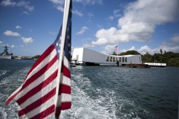 This Dec. 7, 2011 file photo shows the USS Arizona Memorial in Pearl Harbor, Hawaii. This popular site at Pearl Harbor is actually a grave, a resting place for crew …more  members who died in the Pearl Harbor attack of Dec. 7, 1941. Visitors can see it on a first-come, first-serve basis, and many do to see a significant piece of history and pay respects to those who died. (AP Photo/Marco Garcia, file