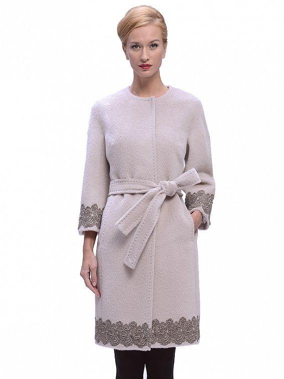 Пальто женское цвет холодный бежевый, альпака baby Suri, мембрана, артикул 101421vlr04