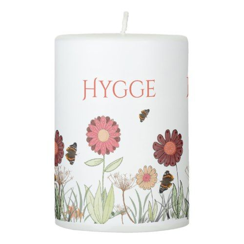 Hygge with painted floral pattern burgundy meadow pillar candle