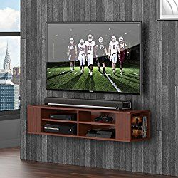 fitueyes wall mounted audiovideo console wood grain for xbox one ps4 vizio