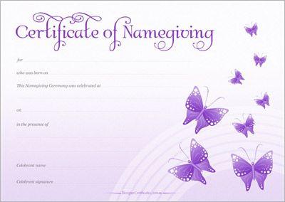 Naming Certificate - Purple Butterflies design.