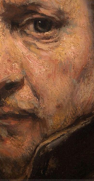"""detail, Rembrandt. Nunca viajo a Italia, si bien adquirió obras y libros de grabados con la obra de Miguel Ángel y Tiziano. La pintura veneciana y Tiziano influenciaría en su pintura a base de manchas y materia creando una superficie rugosa, llamada en el s.XVII """"manera áspera"""", en contraposición de las pinceladas invisibles de otros pintores llamada """"manera fina""""."""