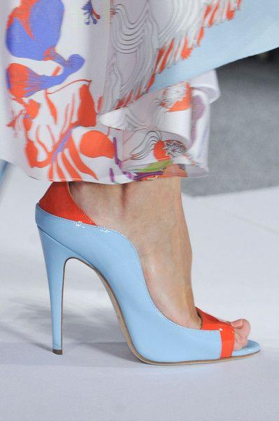 Dennis Basso light Blue & Orange Open-Toe Pumps Spring 2014 RTW #Shoes #Heels