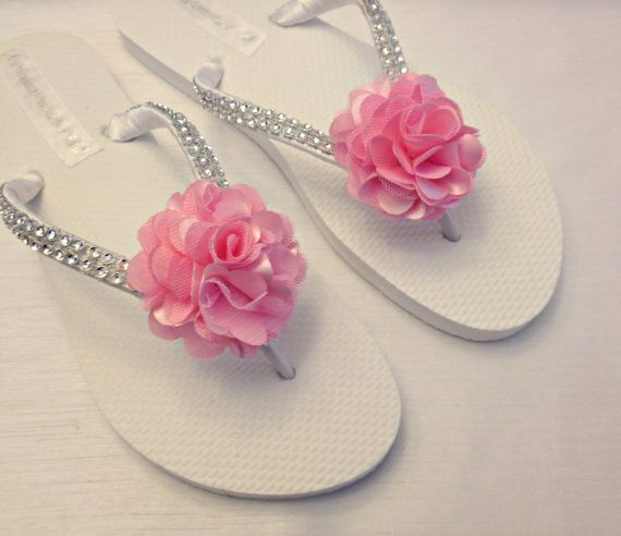 Bridesmaid Flip Flops Light Pink Flower Flip Flops by A Priceless Princess Bridal, Great for your bridal party, beach wedding or backyard wedding.  For 10% off use PIN10 at https://www.etsy.com/listing/195270079/bridesmaid-flip-flops-pink-flower-flip?ref=shop_home_active_42