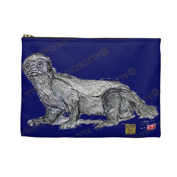 Badger Bag Turquoise Blue Honey Badger Cute  Small Or Large Size Accessory Pouch- Made in USA Badger Gift Badger Pouch,Badger Accessory