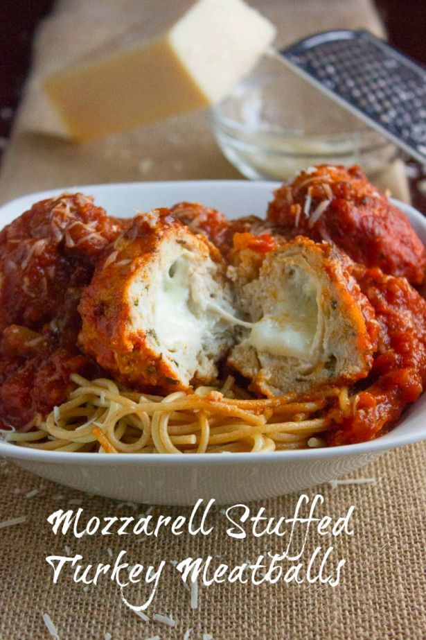 Mozzerella Stuffed Turkey Meatballs...I'd do it without the onions because I hate them, but they sound tasty.
