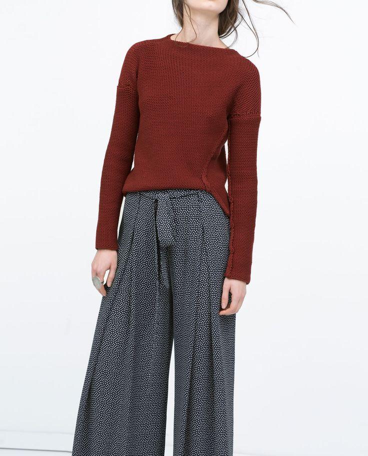 imagen 2 de pantalon fluido ancho estampado de zara 29 95. Black Bedroom Furniture Sets. Home Design Ideas