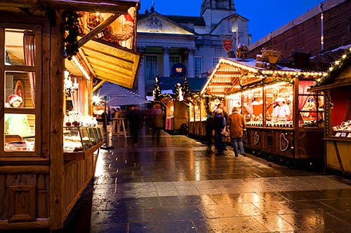 German Christmas Market in Millennium Square Leeds Yorkshire England, via Flickr.