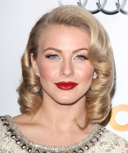 Julianne Hough Retro Curls Bright Red Lipstick