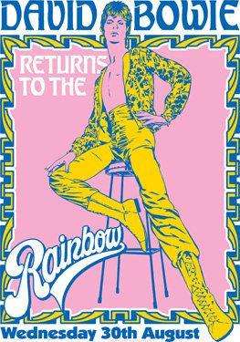 DAVID BOWIE - 30 August 1973 - London Rainbow Theatre - live show artistic retro concert poster. €10.00, via Etsy.