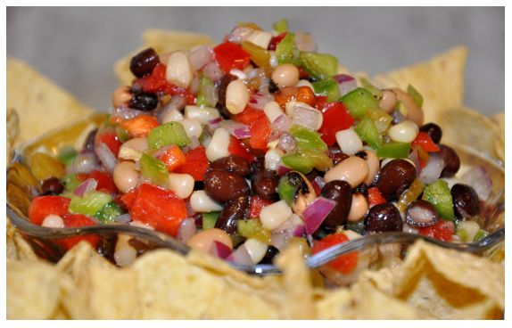TEXAS CAVIAR     (red onion  red pepper  green pepper  white shoe peg corn  black beans  black eyed peas  jalapeno pepper (optional)  garlic powder (or fresh garlic)  1/2 cup cider vinegar  1/2 cup canola or olive oil  1/4 cup sugar    cut everything up (rinse beans) put vinegar in pan and bring to a boil, put sugar in and turn heat off when sugar is dissolved add oil and combine then pour over veggies/beans and stir.   Better if it sits for a few hours in the fridge.)Summer Appetizers, Yummy Food, Texas Caviar, Green Peppers, Football Season, Healthy Recipe, Favorite Recipe, Cowboy Caviar, Dips