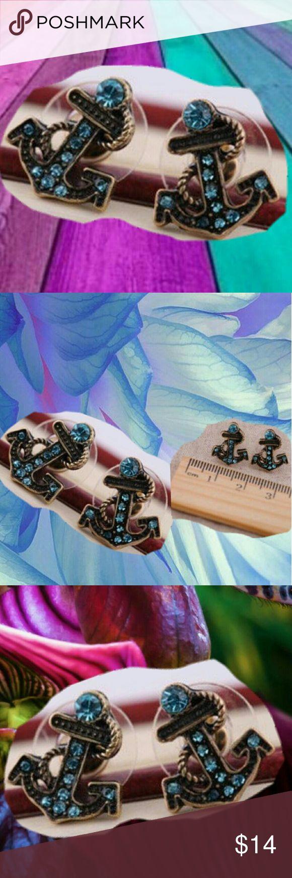 Anchor's Away Blue Anchor Earrings Anchor's Away Blue Anchor Earrings  Anchor's Away Blue Anchor Earrings Mosaic material: alloy inlay artificial gem / semi precious stones  Metal type: AlloyMain stone color: BlueMetal color: 18K Gold PlatedMain material: Diamond Cubic Zirconia . D16  . Jewelry Earrings