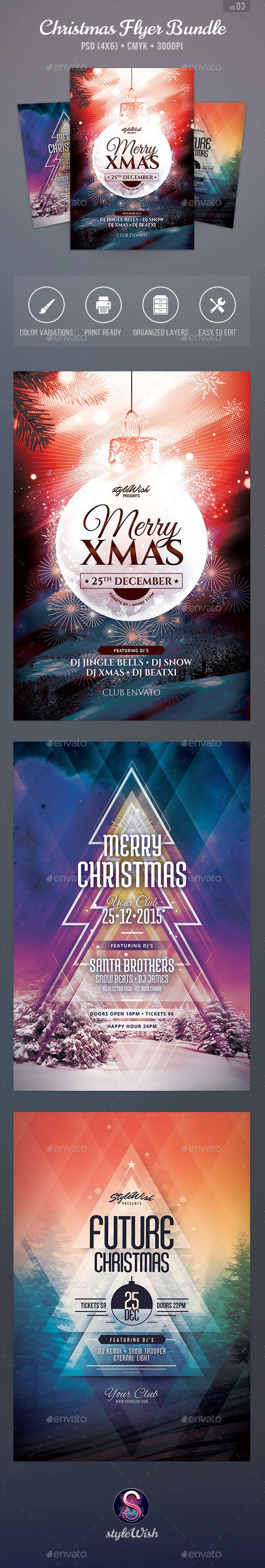 Christmas Flyer Bundle Template PSD #design Download: http://graphicriver.net/item/christmas-flyer-bundle-vol03/13932067?ref=ksioks