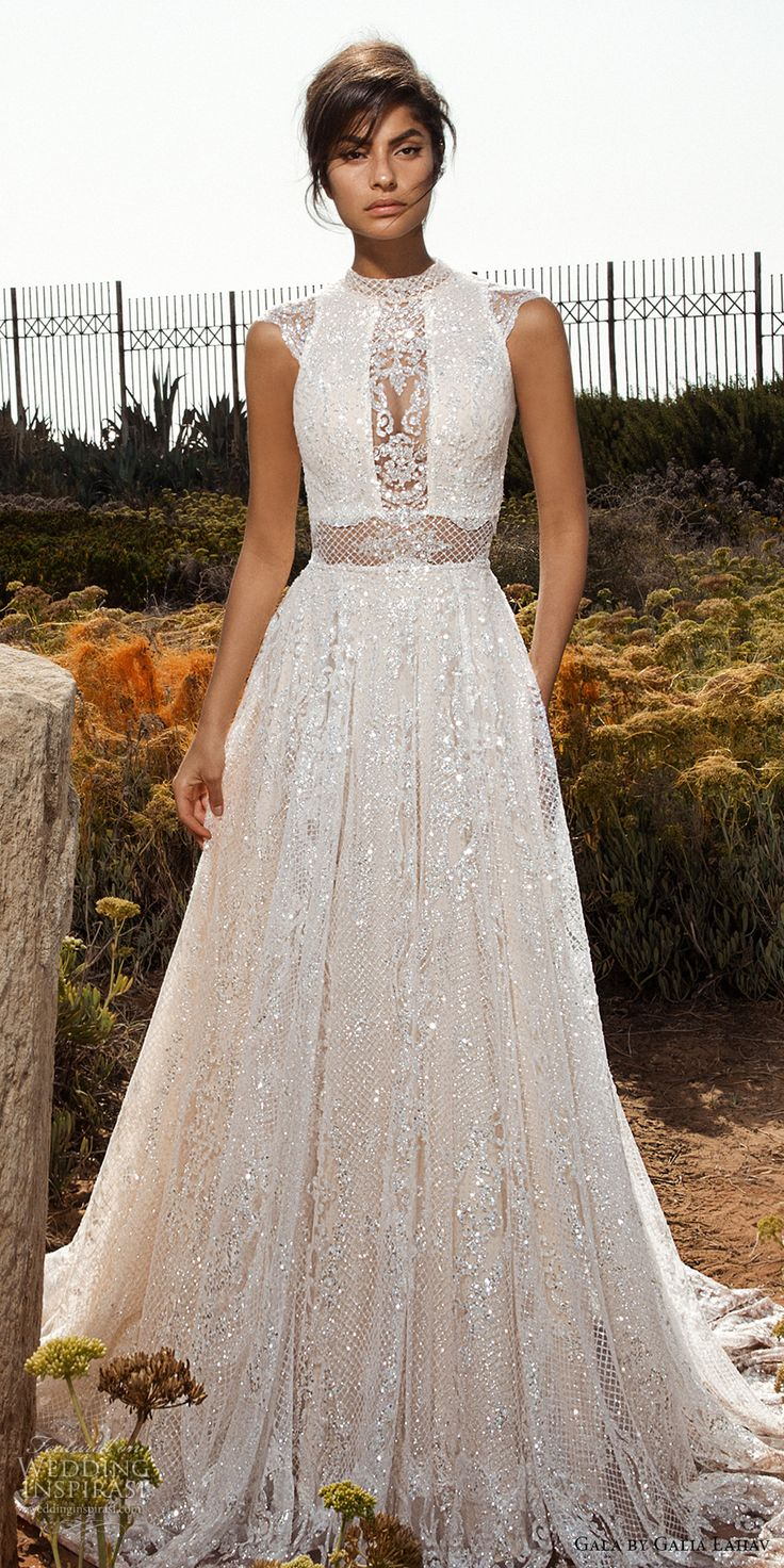 galia lahav gala 2017 bridal cap sleeves high jewel neck full embellishment beaded crystals romantic glamorous a  line wedding dress open low back chapel train (803) mv -- Gala by Galia Lahav 2017 Wedding Dresses