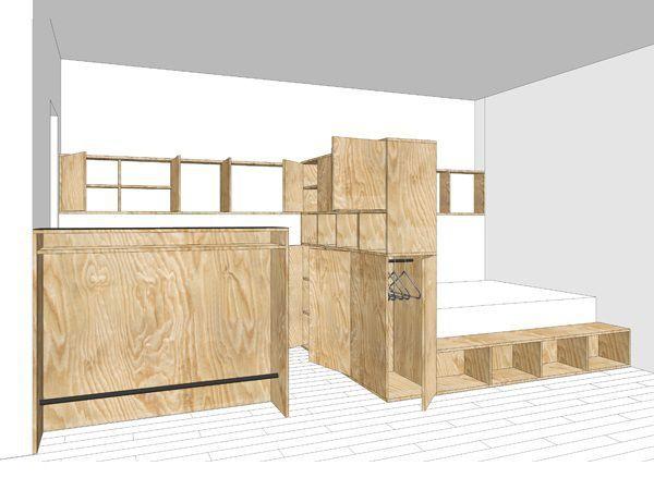 L'espace ainsi modelé donne les clés de son usage : espace de nuit, espace cuisine, salle de bains séparée. Cette dernière est cependant reliée à la pièce principale par des étagères ... #maisonAPart