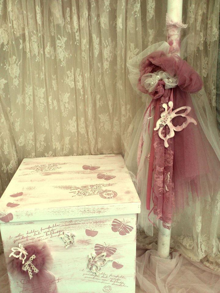 Κουτί - Λαμπάδα Βάπτισης Πεταλούδες : Ξύλινο κουτί βάπτισης με θέμα την πεταλούδα σε ρόζ και σάπιο μήλο αποχρώσεις και ασορτί λαμπάδα. 120 ευρώ . Δείτε περισσότερα https://www.facebook.com/groups/969350739807314/permalink/970144483061273/