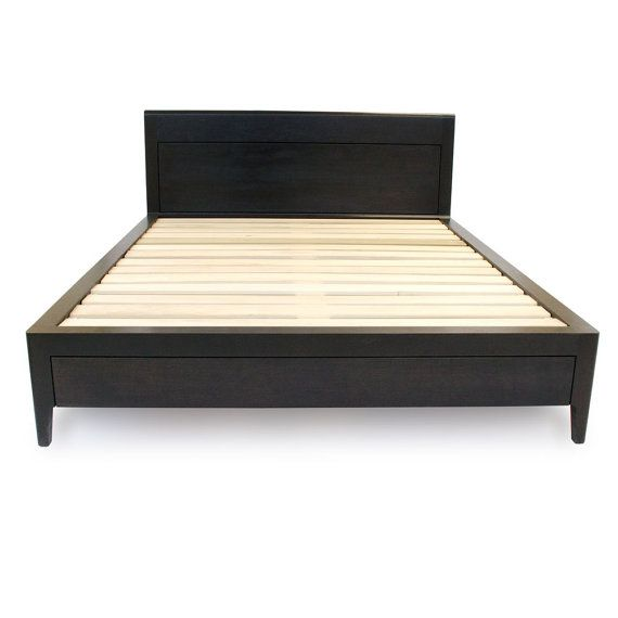 ebonized walnut storage bed platform bed no 2 modern wood bed frame - Full Bed Frame Wood