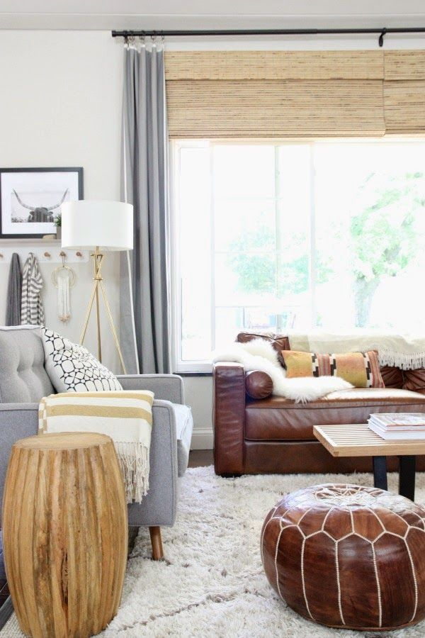 Love the mixed leather and grey couches and wood and mixed metals