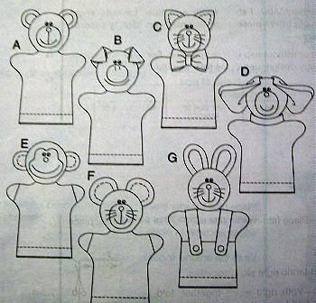 FLEECE HAND PUPPETS PATTERN Pig Bear Monkey Dog Cat Mouse Bunny