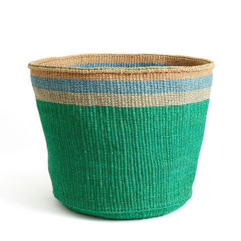 Emerald and Turquoise Striped Basket - Made in Kenya