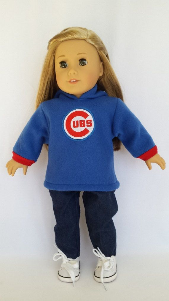 Chicago Cubs Hoodie Jeans fits American by sheilasdollstitchery