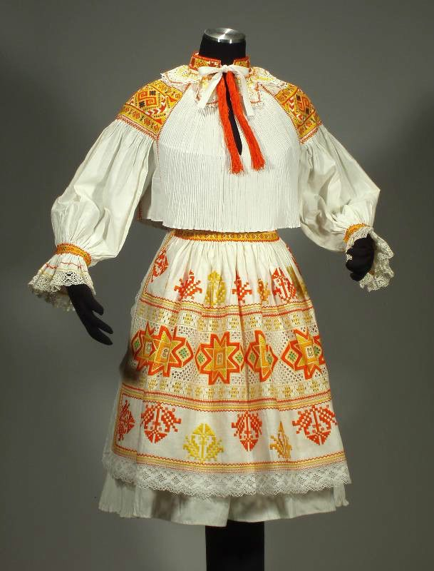 RARE Slovak Folk Costume embroidery blouse lace apron pleated skirt CICMANY kroj