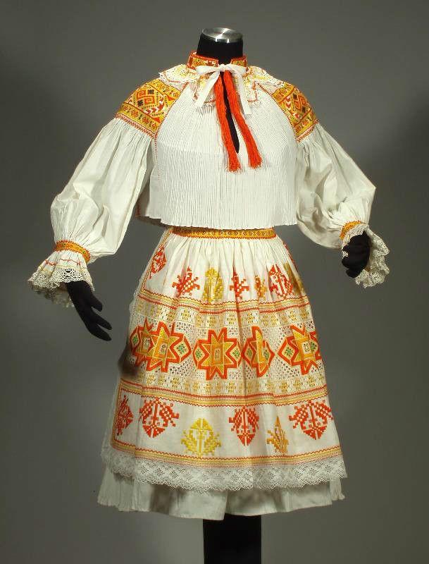 RARE Slovak Folk Costume embroidery blouse lace apron pleated skirt CICMANY kroj